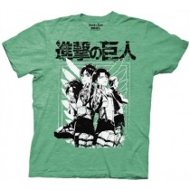 Attack on Titan Souct Group Heathered Green T-shirt